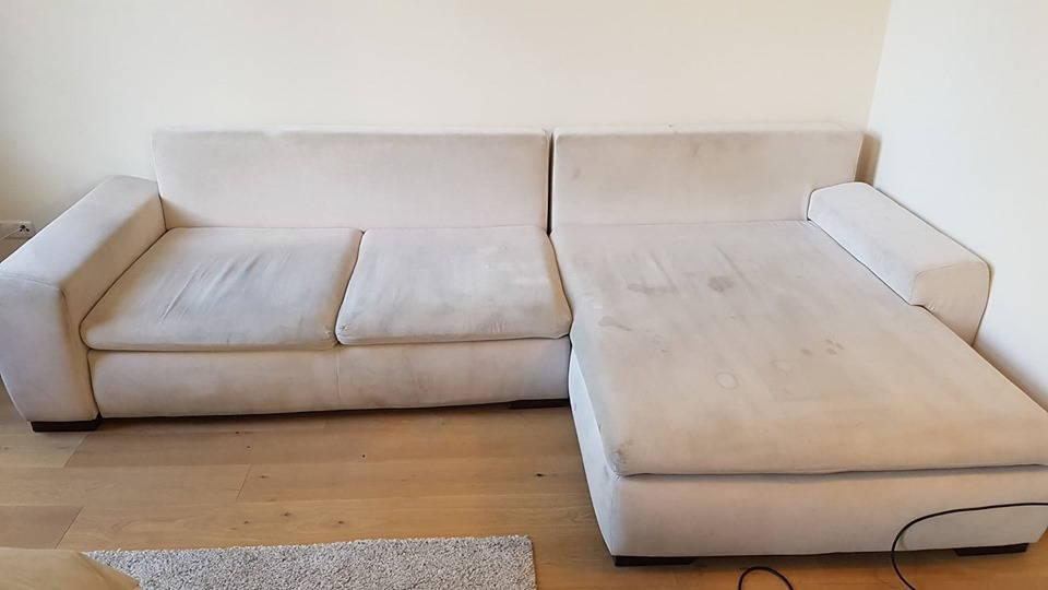 до чистки светлый диван